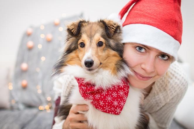 Gemeinsames Weihnachtsfoto mit Hund